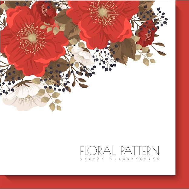Красная цветочная рамка красные и белые цветы Бесплатные векторы