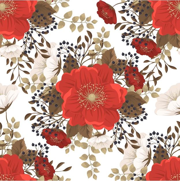 赤い花の背景のシームレスパターン 無料ベクター