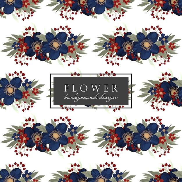 青い花のシームレスパターン 無料ベクター