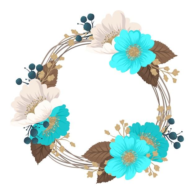 Цветочный венок, рисунок круга, рамка с цветами Бесплатные векторы