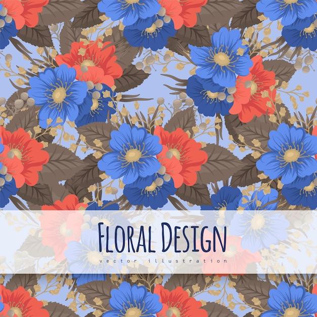 花柄の背景-青と赤の花 無料ベクター