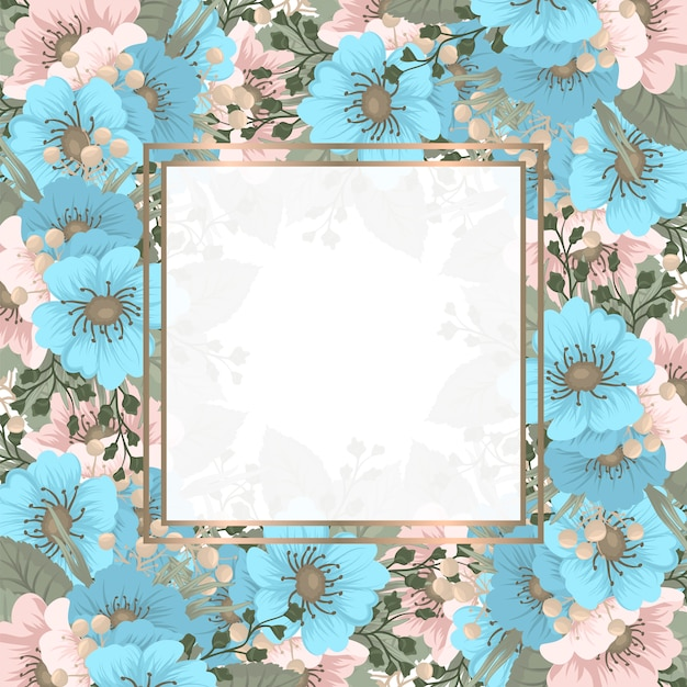 Квадратная рамка весенний цветок Бесплатные векторы