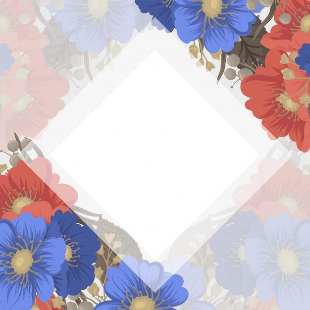 花ページボーダー-青と赤の花 無料ベクター