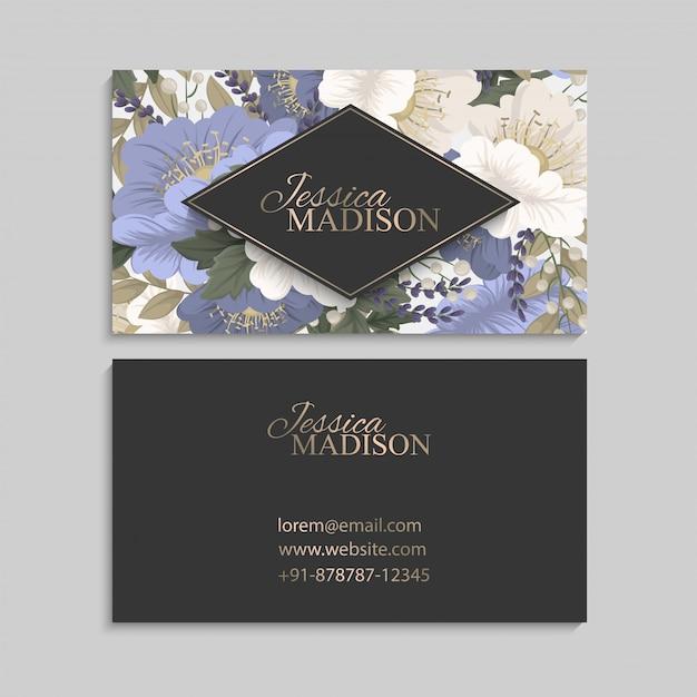 春の花ボーダー花カード 無料ベクター