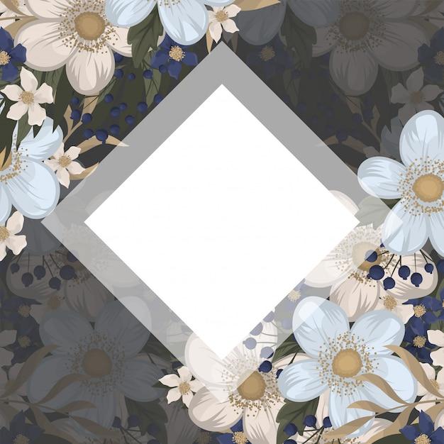 Цветочные узоры бордюра - светло-голубые цветы Бесплатные векторы
