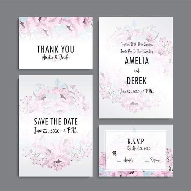 Приглашение на свадьбу, открытка с благодарностью, сохранение даты на карточке Бесплатные векторы