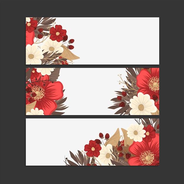 花の境界線の描画-赤枠セット Premiumベクター
