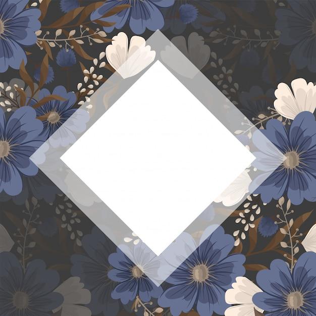 春の花ボーダー-青い花 無料ベクター