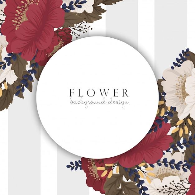 花の境界線の描画-赤枠 Premiumベクター