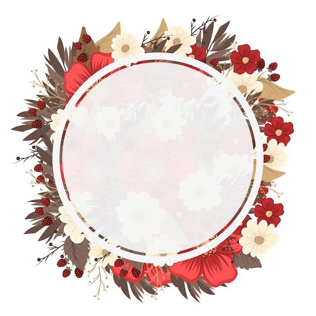 花の円の境界線の描画-赤枠 無料ベクター