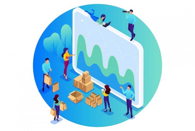 Изометрические яркая концепция сайта концепция цифровых закупок, маркетинговых исследований, совместной работы. концепция для сети Premium векторы