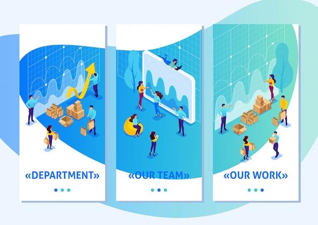 Изометрические шаблон приложения яркая концепция цифровых закупок, маркетинговые исследования, работа в команде, приложения для смартфонов. легко редактировать и настраивать Premium векторы