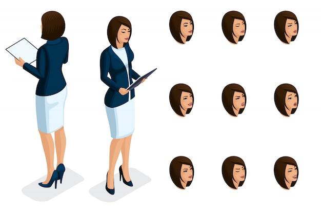 折りたたみ式のスタイリッシュな服を着た、ビジネスレディのクオリティアイソメトリー。キャラクター、高品質を生み出す一連の感情を持つ少女 Premiumベクター