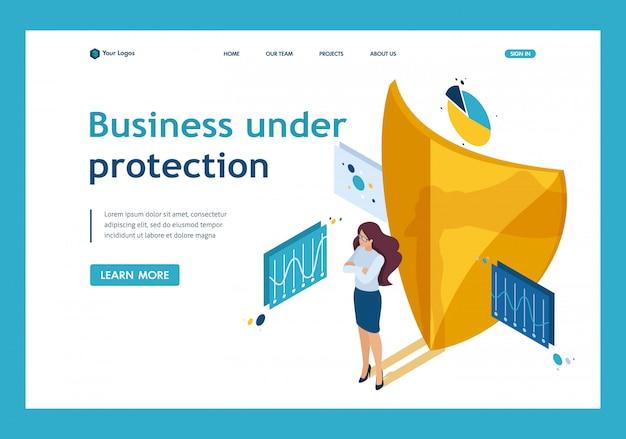 あなたのビジネス、弁護士の女の子の完全な安全を確保するための等尺性の方法。ウェブサイトテンプレートのランディングページ Premiumベクター