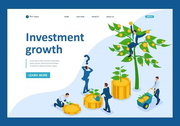 Изометрические бизнесмены вкладывают деньги и помогают им расти и получать прибыль Premium векторы
