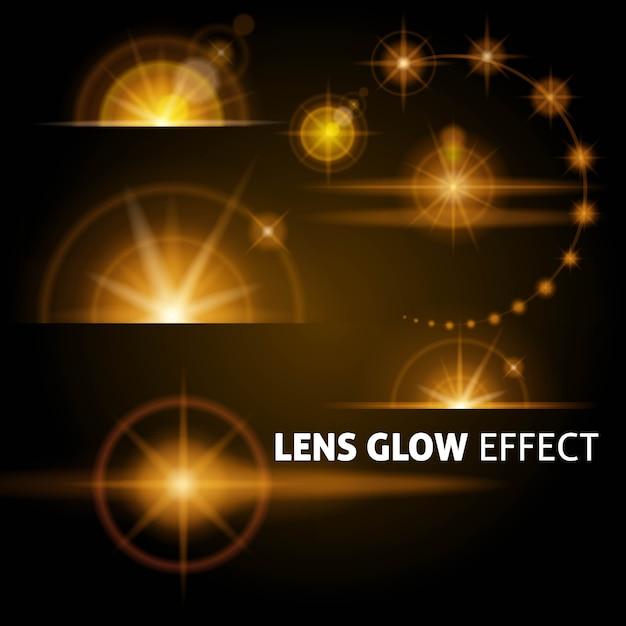Реалистичные блики и лучи вспышки белого оранжевого света Premium векторы