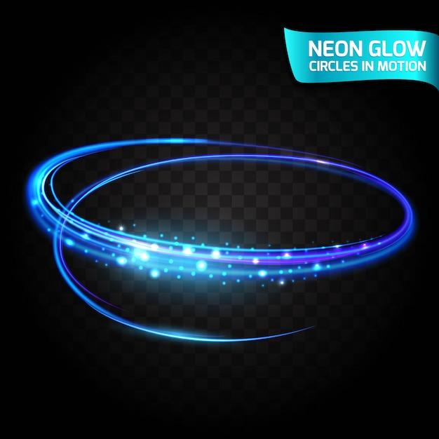 動きのネオングロー円ぼやけたエッジ、明るいグローグレア、魔法の輝き、カラフルなデザインの休日。抽象的な光るリングは、エフェクトのシャッタースピードを遅くします。円運動の抽象的なライト Premiumベクター