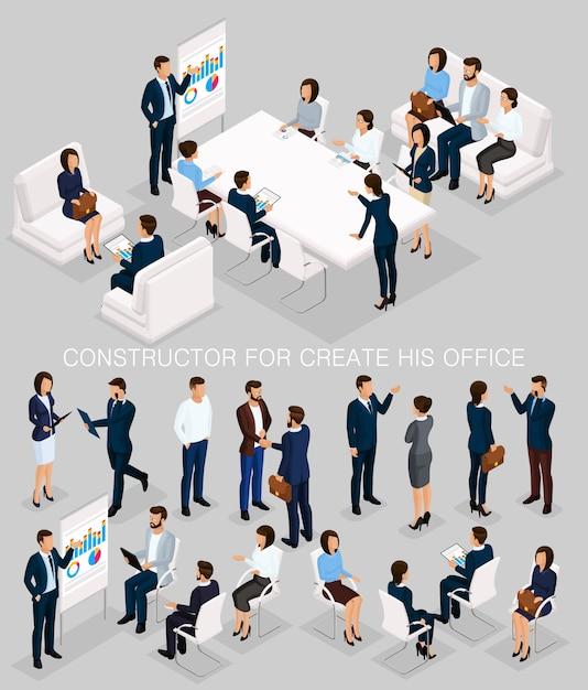 Деловые люди изометрической набор для создания своих иллюстраций встречи и мозговой штурм Premium векторы