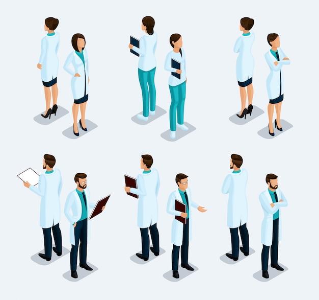トレンディな等尺性の人々。医療スタッフ、病院、医師、看護師、外科医 Premiumベクター