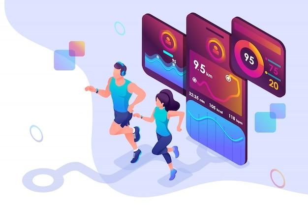 Изометрические концепции тренируйтесь вместе, достигните своей цели с помощью мобильного приложения, чтобы отслеживать свою активность. Premium векторы