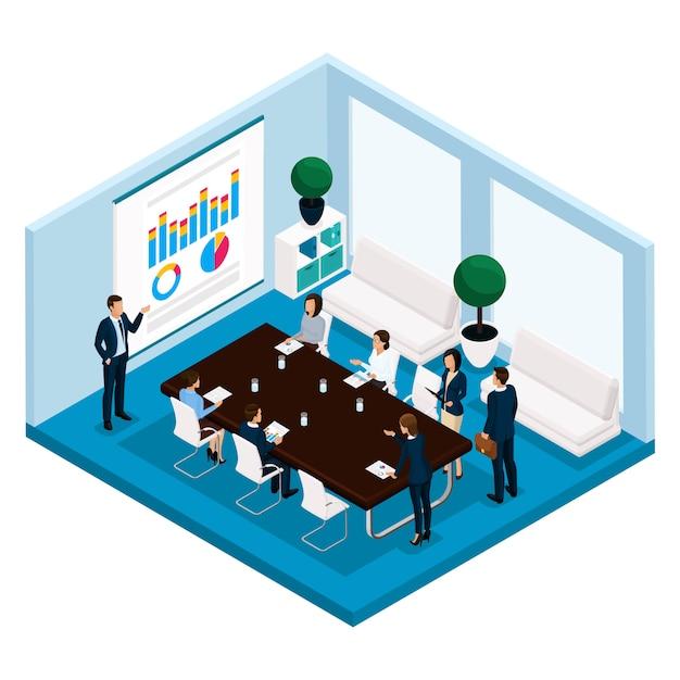 トレンド等尺性人、部屋、オフィスマネージャーは正面、大きなオフィスデスク、交渉、会議、ボード、会議、ブレーンストーミング、分離されたスーツのビジネスマン Premiumベクター