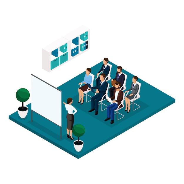 概念等尺性の人々を学ぶトレンドフロント等尺性、コーチ、トレーニング、講義、会議、ブレーンストーミング、ビジネスマン、スーツのビジネスウーマン Premiumベクター