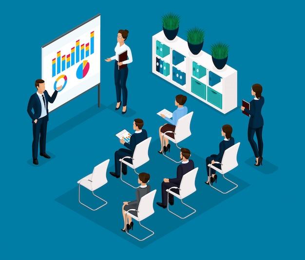 トレンド等尺性の人々、コンセプト、フロントビュー、コーチ、教師、教育、講義、ビジネストレーニング、スーツのビジネスマンを訓練するための部屋 Premiumベクター