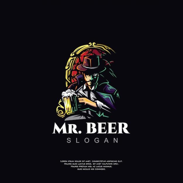 Дизайн логотипа пива талисман Premium векторы