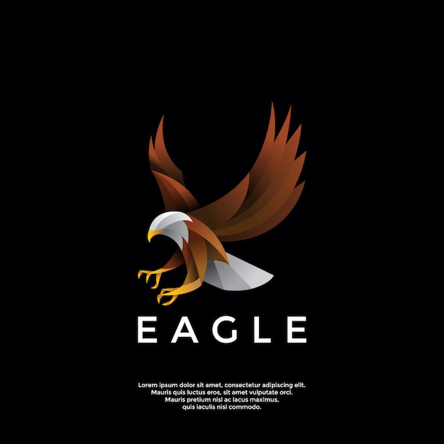 Градиент орел логотип Premium векторы