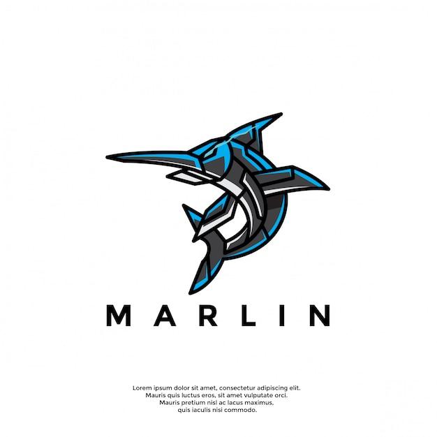 Уникальный логотип робота марлин Premium векторы