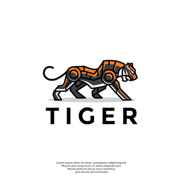 Уникальный шаблон логотипа робот-тигр Premium векторы