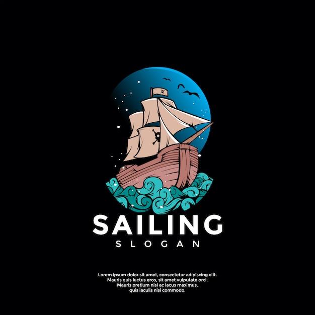 船の冒険のロゴのテンプレート Premiumベクター