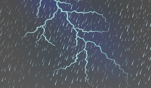 雨と雷のある空の背景 無料ベクター