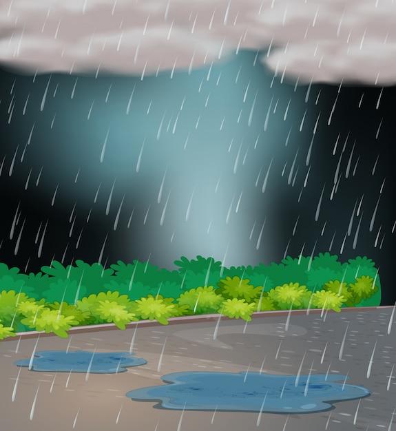 Фоновая сцена с дождем в саду Premium векторы