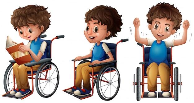 Мальчик в инвалидной коляске делает три вещи Бесплатные векторы