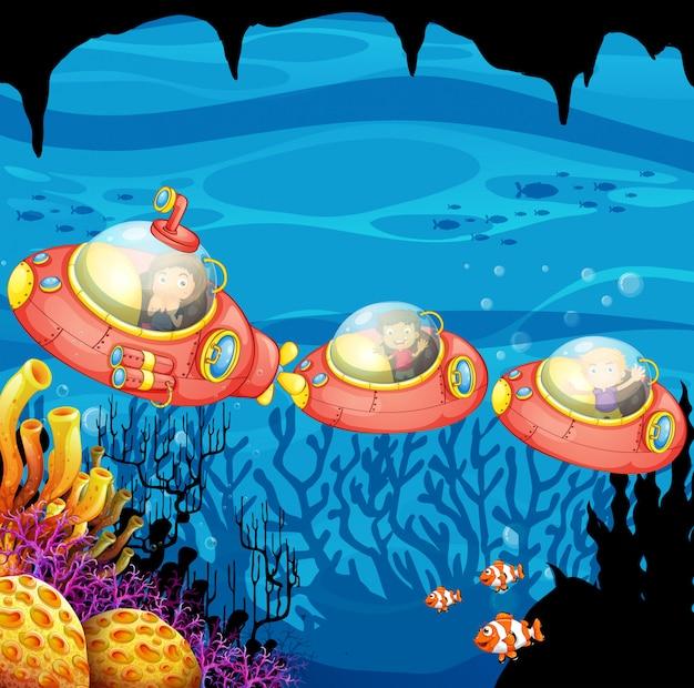 Дети подводные подводные подводные Бесплатные векторы