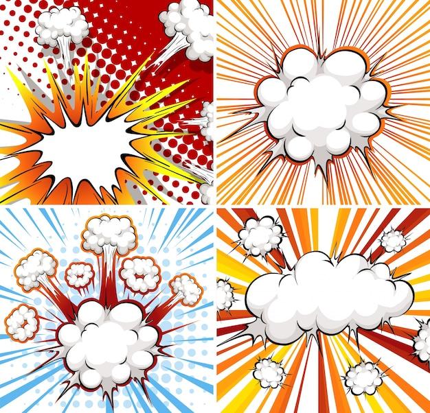 Шаблон взрыва в четырех различных конструкциях Бесплатные векторы