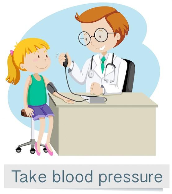 医者との女の子は血圧を取る 無料ベクター