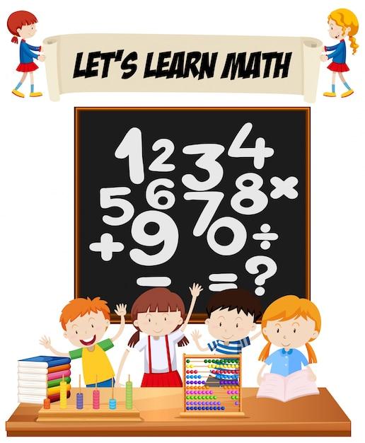 学生は、教室のイラストで数学を学ぶ 無料ベクター