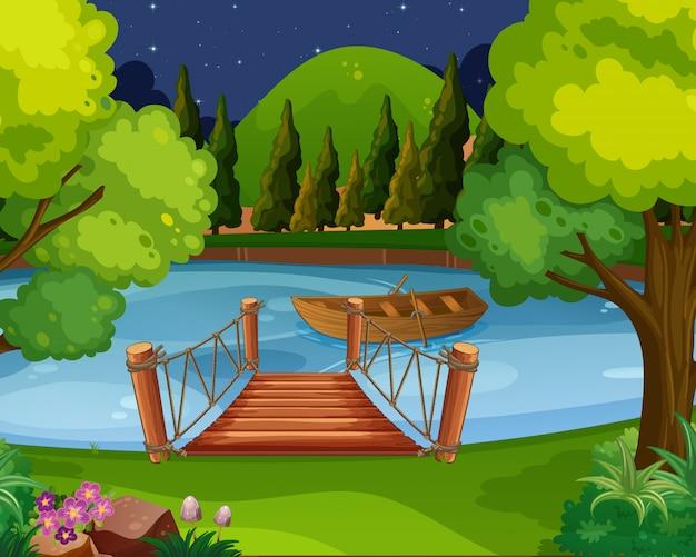 川に浮かぶボートの背景シーン Premiumベクター