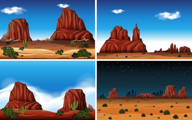 Скальная гора и пустынная сцена Бесплатные векторы