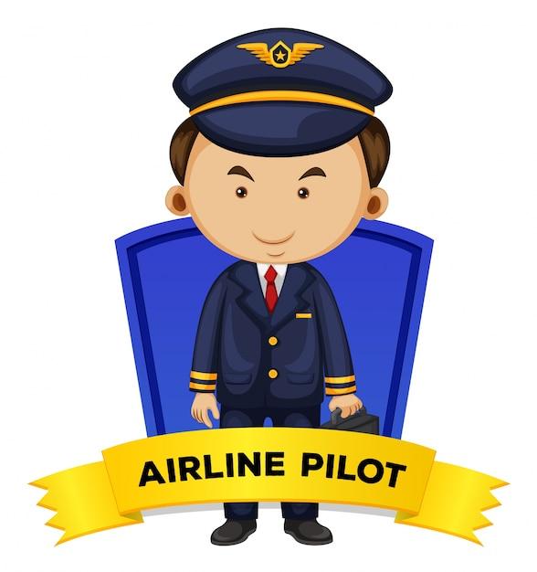 Род занятий с пилотом авиакомпании Бесплатные векторы