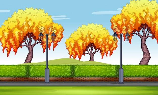 公園での柳の木の場面のイラスト ベクター画像 プレミアムダウンロード