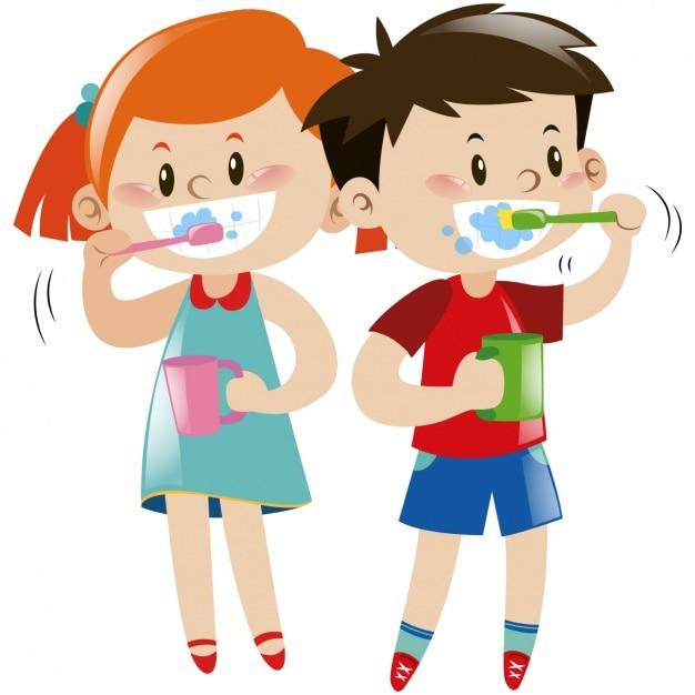 子供たちは自分の歯を磨きます 無料ベクター