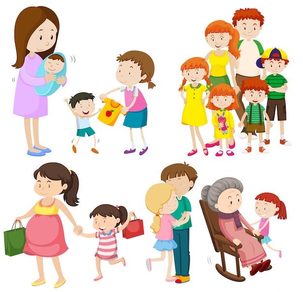 異なる世代の家族の人々イラスト 無料ベクター