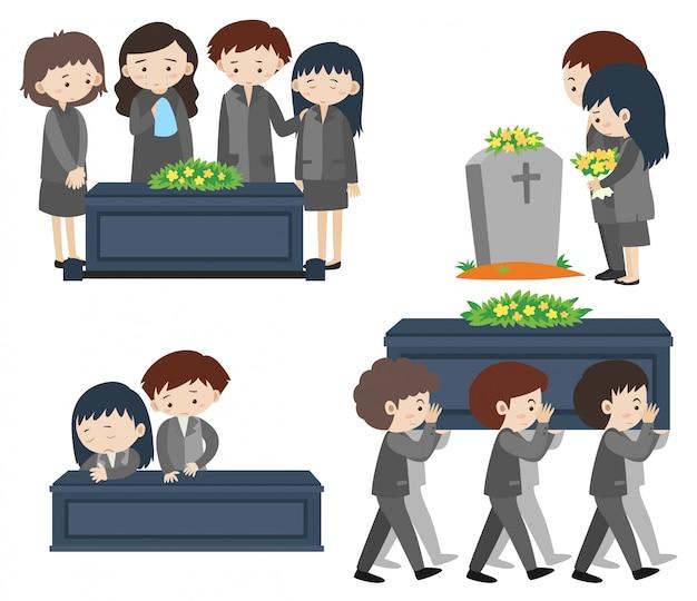 悲しい葬儀の人 Premiumベクター