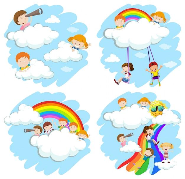 虹のイラストで遊んでいる子供たち 無料ベクター