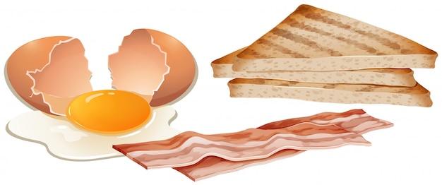 Набор завтрака на белом фоне Бесплатные векторы