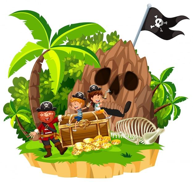 рисунок пираты на острове выполнены высококачественной
