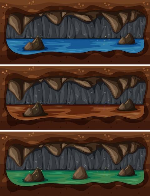 地下洞窟の川のセット Premiumベクター